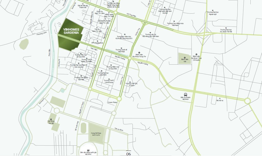 Chung cư Vinhomes Gardenia - Vị trí dự án