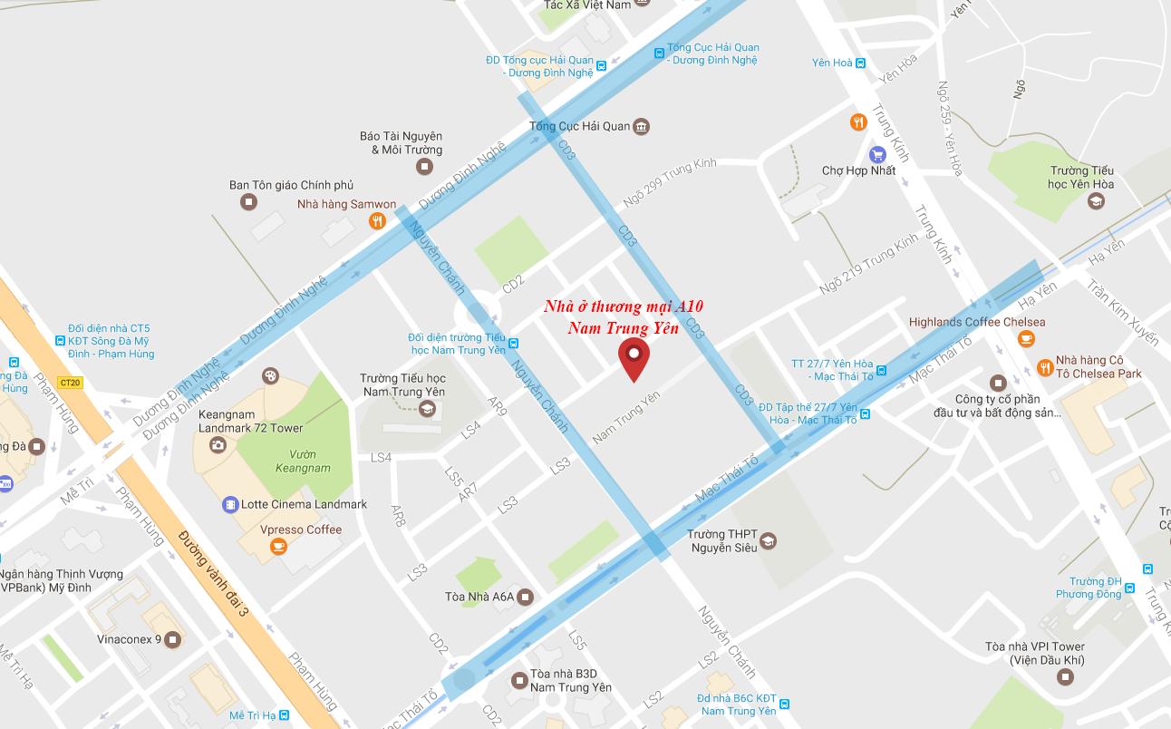 Chung cư A10 Nam Trung Yên - Vị trí dự án