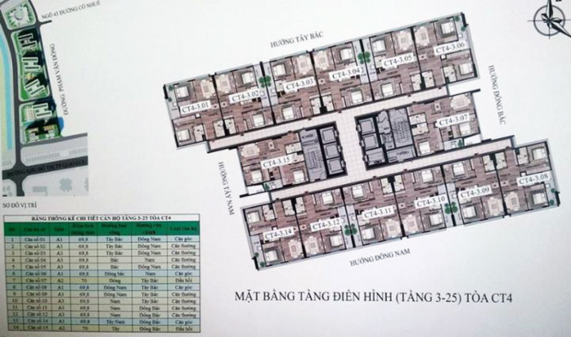 Nhà ở xã hội Bộ Công An Cổ Nhuế 2 - Mặt Bằng Tòa CT4