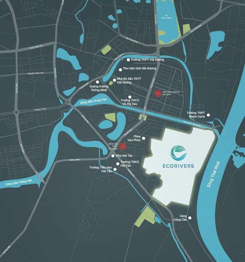 Khu đô thị Ecorivers Hải Dương - Vị trí dự án