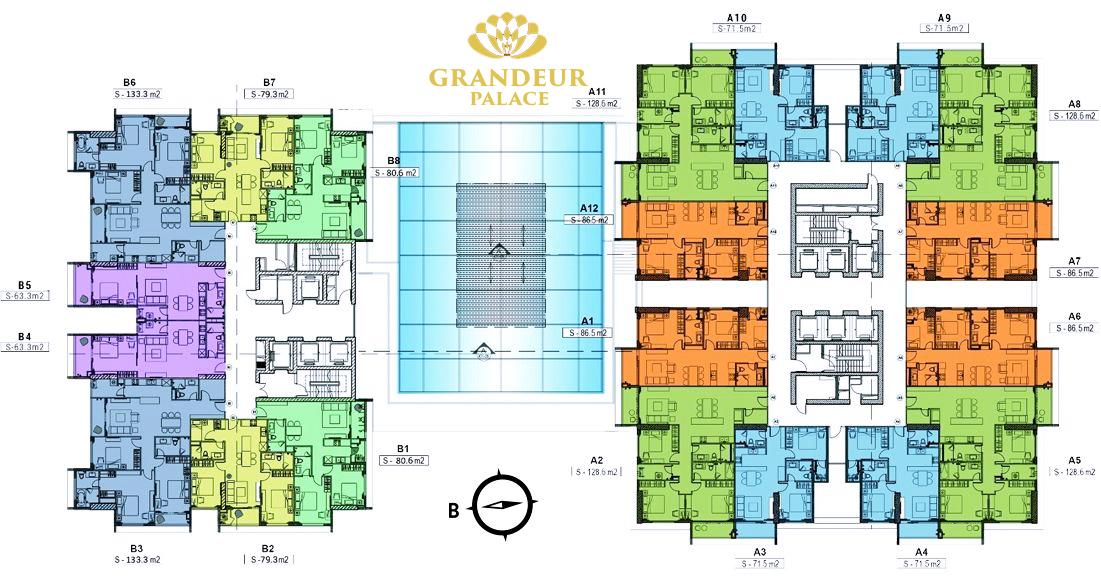 Chung cư Grandeur Palace 138B Giảng Võ - Mặt Bằng Thiết Kế
