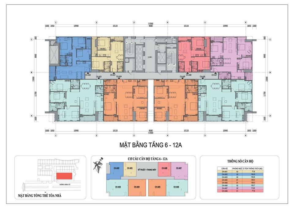 Chung cư Grandeur Palace 138B Giảng Võ - Mặt Bằng Thiết Kế Tầng 6-12A