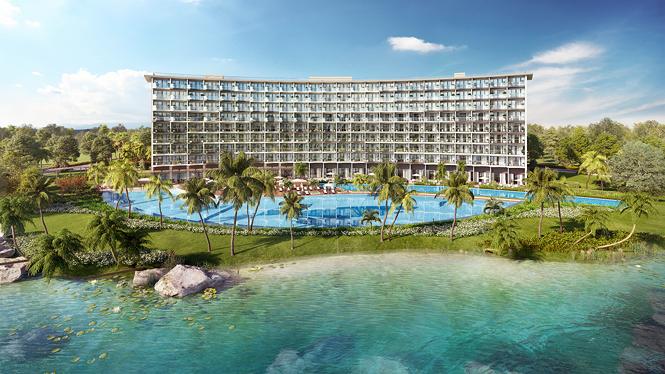 Dự án sở hữu 329 căn condotel cùng lối thiết kế mở giúp du khách dễ dàng tận hưởng vẻ đẹp đầy quyến rũ của bãi Ông Lang.