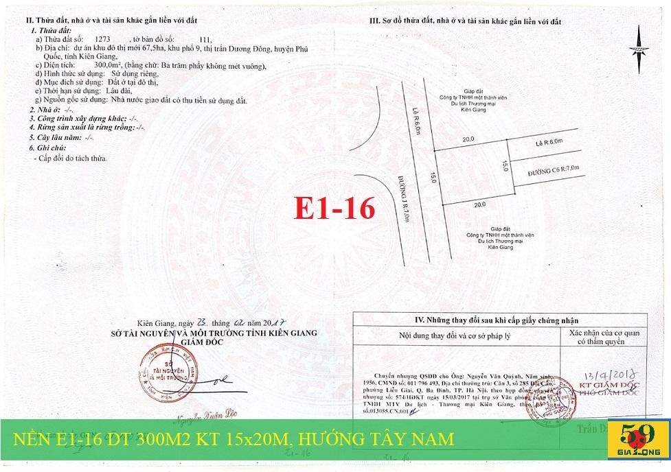 Sổ đỏ nền biệt thự E1-16 dự án Khu đô thị mới Bắc Dương Đông 67h Phú Quốc