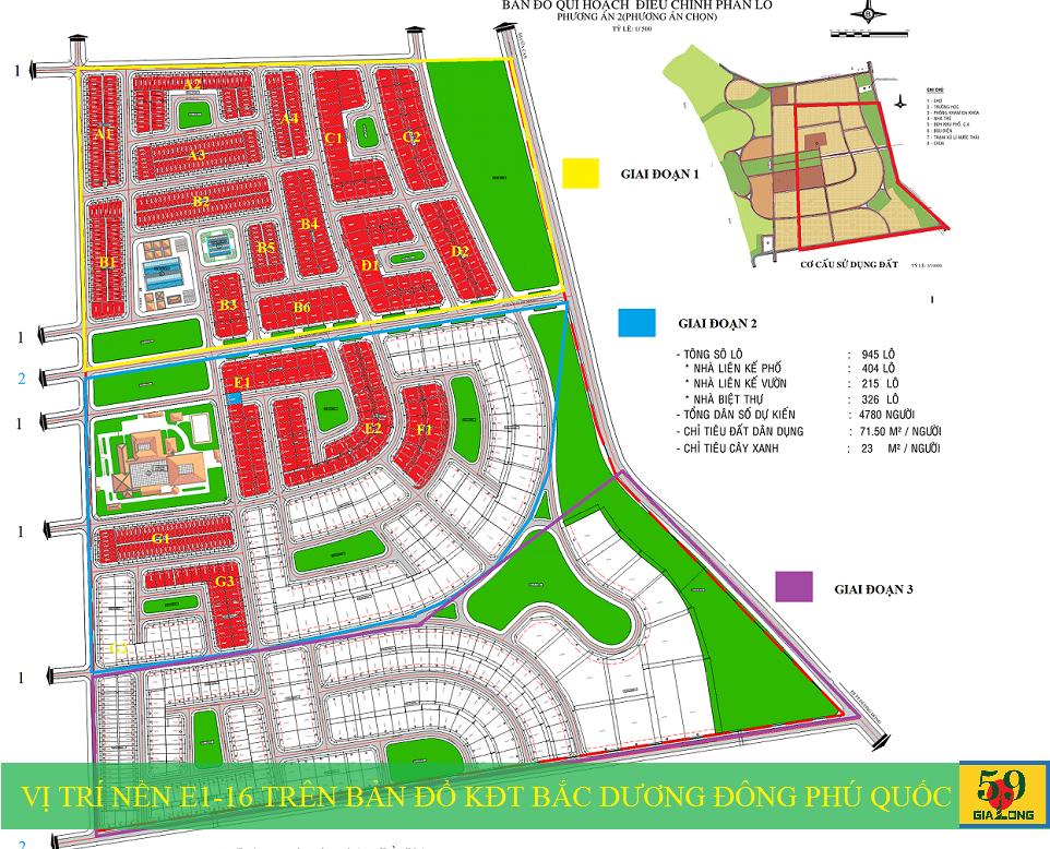 Vị trí nền biệt thự E1-16 trên bản đồ Khu đô thị mới Bắc Dương Đông 67ha Phú Quốc