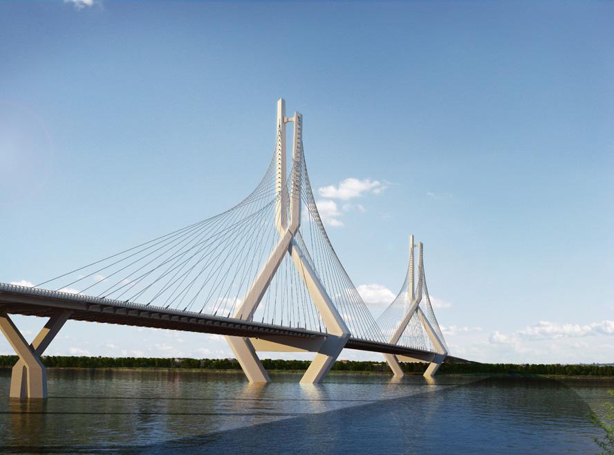 Cây cầu dài gần 5km, hình dáng cây cầu dây văng mang đậm nét về lịch sử và văn hóa thủ đô Hà Nội, thiết kế ý tưởng có tính biểu tượng của Thành phố vì Hòa Bình gắn với chiều dài lịch sử, ngàn năm văn hiến của Thủ Đô, Hài hòa với cảnh quan đô thị xung quanh.