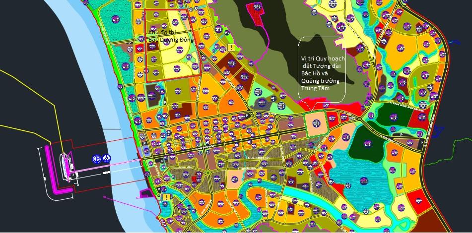 Vị trí khu đất quy hoạch làm quảng trường trung tâm và tượng đài Bác Hồ